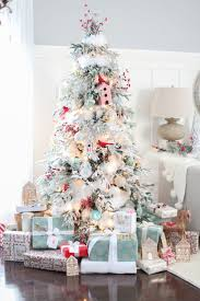 75 Flocked Christmas Tree by Best 25 Red Christmas Trees Ideas On Pinterest Christmas Tree