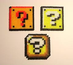 super mario bros question block pixel bead sprite