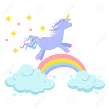 Unicorn Ride On Rainbow And Clouds Magic Vector Set Is Rides Cute