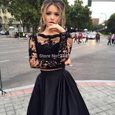 aliexpress com buy black lace two pieces prom dress long sleeves