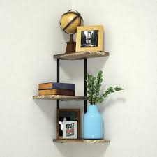 3 Tier Rustic Wood Corner Shelf Floating Shelves Bedroom Office Decor Wall Mount