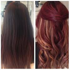 Before After Velvet Red With Peek A Boo Highlights