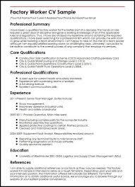 Factory Worker CV Sample