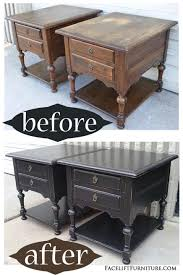 Oak End Tables In Distressed Black – Before & After | Home Decor ... Ethan Allen Used Fniture For Sale 1759 Tips American Impressions 38 Traditional Allen Tuscany Collection Walnut Finish Ding Sold Pair Of Cherry Nightstands End Or Lamp Tables Set New Fr Minecraft For 12 Vybchsystemscom Mickey Mouse Club Chair And A Half By Shopdisney European Paint Finishes Table Chairs Branches Accent Cheers Ears Stool Banded Mahogany Vintage 10 2 Leaves Room Fniture Awesome Capvating Shop Rooms