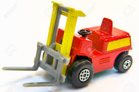 100 Industrial Lift Truck Red And Yellow Fork Loader Toy Isolated