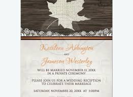 New Post Wedding Celebration Invitations Or Reception Luxury Rustic Autumn Wood Leaf