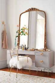 Redoubtable Big Mirror And Fancy Beige Black Vanity Table Plus Fluffy Cushion Stool Chair