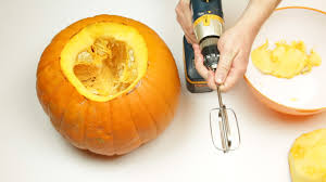 Pumpkin Carving With Drill by Carving And Cleaning Out The Inside Of A Pumpkin With A Drill