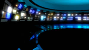 Clean News Virtual Studio Background With Multiple Monitors Playing In The