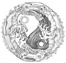 Sun And Moon Dragon Yin Yang Coloring Pages Colouring Adult Detailed Advanced Printable Kleuren Voor Volwassenen
