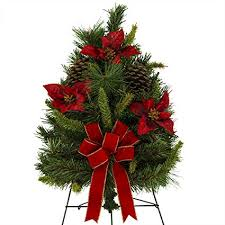 24 Inch Artificial Christmas Tree With Poinsettias Pine Cones And Hand Tied Red Bow