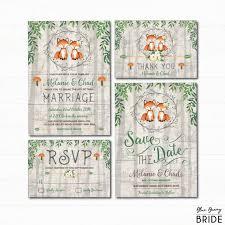 Woodland Fox Wedding Invitation Set Rustic Forest Watercolor