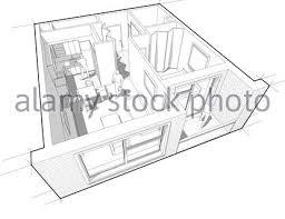 perspektive innenansicht der ein apartment mit einem