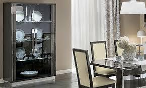 vitrine wohnzimmer esszimmer schrank hochglanz grau moderne