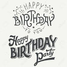 Happy Birthday hand drawn typographic design set for greeting cards in vintage style Stock Vector