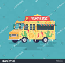 Colorful Flat Mexican Food Truck Traditional Stock Illustration ...