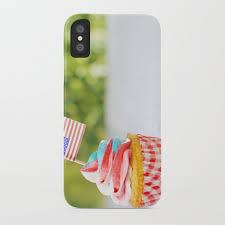 Cupcake With Red White And Blue Frosting American Flags On Outdoor Table IPhone Case