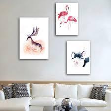 haochu nordic moderne einfache flamingos deer katze rosa schwarz leinwand malerei hause dekoration hintergrund wand kunst wohnzimmer