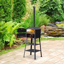 Outsunny Patio Pizza Oven Barbecue Grill Trolley Charcoal BBQ