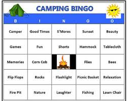 Camping Bingo Game 60 Cards Outdoors Theme Words Very Fun