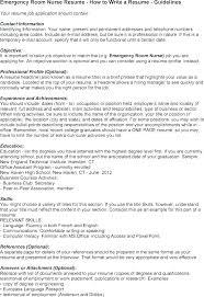 Rn Resume Examples Emergency Room Nurse Operating Nursing