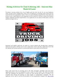 100 Dedicated Truck Driving Jobs Hiring A Driver Or Find A Driving Job Internet Has Made It