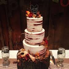 Six Layer Red Velvet Almond Buttercream Autumn Rustic Wedding Cake With A White Chocolate