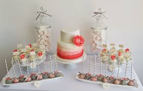 Coral And Grey Wedding Dessert Table