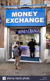 at a exchange bureau de change shop for foreign