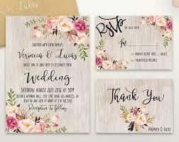 Floral Wedding Invitation Printable Rustic Suite Boho Chic Invite Spring Set