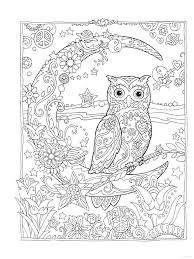 Owl Owls Crescent Moon Flowers Peace Space Coloring Pages Colouring Adult Detailed Advanced Printable Kleuren Voor
