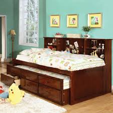 amazon com hardin twin size bookcase bed w trundle and 3 drawers