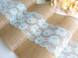 Burlap Table Runner Wedding Pastel Turquoise Lace Rustic Decor Handmade In The USA