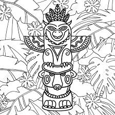Doodle Traditional Tribal Totem Pole On Plants Background Coloring