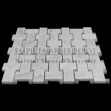 carrara marble basketweave mosaic tile bardiglio gray dots polished