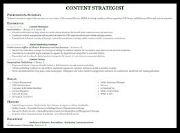 Sample Resume For A Content Strategist
