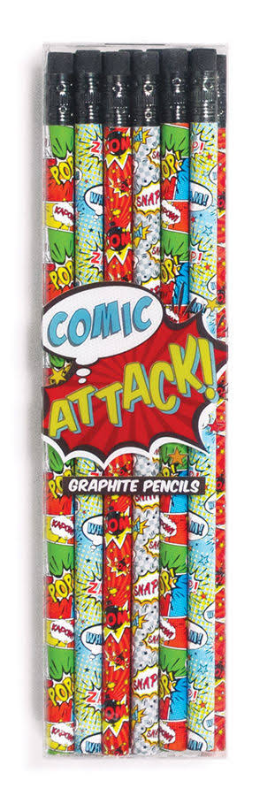 International Arrivals Comic Attack Graphite Pencils Set - Set of 12