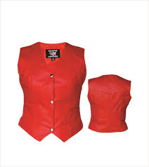 womens red leather motorcycle vest womens leather vests