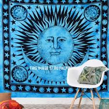 blue tie dye sun and moon tapestry wall hanging bedding bedspread
