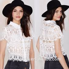 China OEM Wholesale Ladies Fashion Tops And Blouses 2016 White Lace For Women