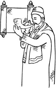 Click To See Printable Version Of Man With A Shofar Near Scroll Coloring Page Categories Rosh Hashanah