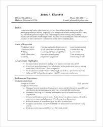 Sample Resume Manufact7a Production Supervisor