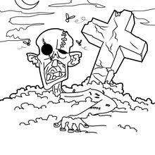 Voodoo Doll Coloring Page Color Online Print Zombie In The Graveyard