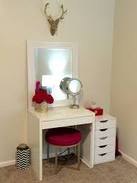 Makeup Vanity Table With Lighted Mirror Ikea by Makeup Vanity Ikea Micke Desk Target Threshold Pink Ottoman