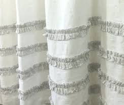 Pink Ruffle Curtains Uk by Striped Ruffles Shower Curtain With 4 Rows Of Ruffles Black And
