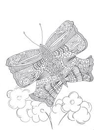 Summer Butterfly Adult Coloring Page