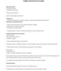 Sample Resume For A Teacher Template Preschool India