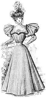 Victorian Lady Vintage French Fashion Elegant Dress Clipart 1896 Antique Gown
