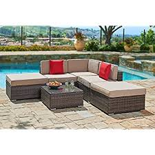 Outdoor Sectional Sofa Set by Amazon Com Suncrown Outdoor Furniture Sectional Sofa Set 7