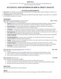 Credit Banking Analyst Sample Resume John Doebr 123 Oak Valley Drive O Springfield IL 12345